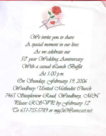 Example 50th Wedding Anniversary Invitation